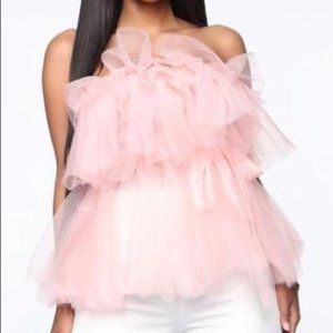 Pink Tulle Strapless Top